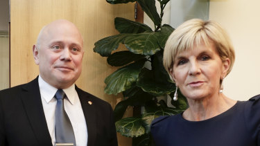 "Then foreign affairs minister Julie Bishop, pictured here with Russian Ambassador Grigory Logvinov, expelled two Russian diplomats after concerns they were ""undeclared intelligence officers""."