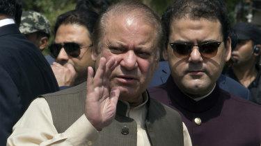 Jailed: former Pakistani prime minister Nawaz Sharif, centre.