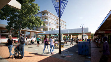 The proposed five-storey development would see the 56-year-old Curtin shops demolished.