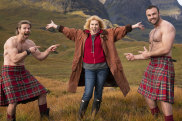 jul31cover -Picture shows_Joanna Lumley with Kilted Coaches, Stephen Clarke and Rab Shileds Joanna Lumley's Britain (aka Home Sweet Home)Starts on ABC - Sunday 8 August 2021 at 7.40pm