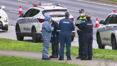 Police at a crime scene near Fountain Gate shopping centre after a body was found.