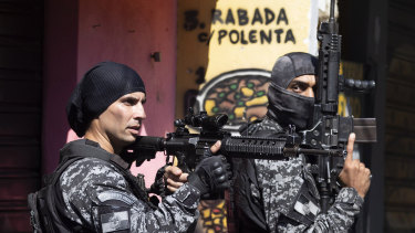 Police conduct an operation against alleged drug traffickers in the Jacarezinho favela of Rio de Janeiro, Brazil, on Thrusday.