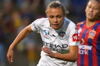 Claire Emslie in action for City.