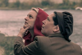 As brainwashing enforcer Aunt Lydia with June (Elisabeth Moss) in The Handmaid's Tale.