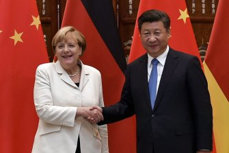 Chinese President Xi Jinping with German Chancellor Angela Merkel in 2016.