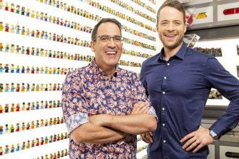 Lego expert Ryan McNaught, left, and Lego Masters host Hamish Blake.