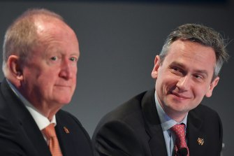 Rio Tinto chief executive Jean-Sebastien Jacques (right) enjoying the company of his chief financial officer Chris Lynch.