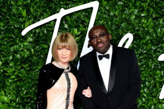 Anna Wintour and Edward Enninful attending the Fashion Awards at the Royal Albert Hall in 2019.
