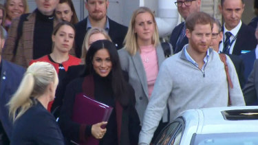 Prince Harry and Meghan Markle arrive at Sydney Airport.