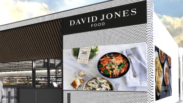 An artist's impression of a David Jones-branded BP store.