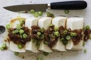 Silken tofu with onion and garlic.
