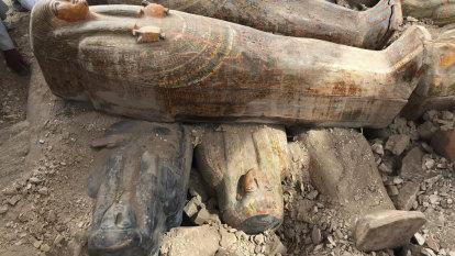 Egypt reveals details about trove of ancient wooden coffins