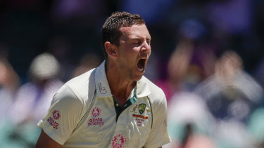 Josh Hazlewood and the Australians need eight more wickets to win.