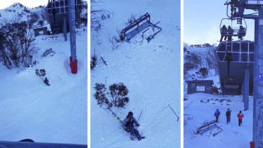 The skier was on the Gunbarrel Express Quad chairlift when strong winds dislodged the chair about 3pm on Monday.