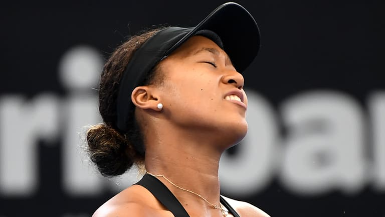 One of those days: A frustrated Naomi Osaka reacts to losing a point to Lesia Tsurenko on Saturday.