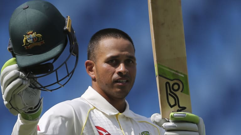 Career-defining knock: Usman Khawaja answered his critics with a match-saving 141 against Pakistan in Dubai.