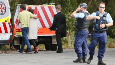 Police and paramedics at Mt Keira on Tuesday afternoon.