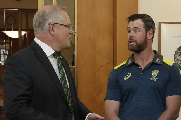 Prime Minister Scott Morrison meets with PM's XI Cricket team co-captains Dan Christian and Peter Siddle in the Prime Minister's office at Parliament House in Canberra on  Tuesday 15 October 2019.