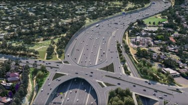 An artist's impression of a section of the North East Link. Major construction on the  project is due to start next year.