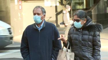 Kandasamy (left) and Kumuthini Kannan outside court last month.