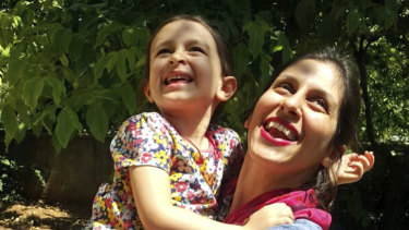 Nazanin Zaghari-Ratcliffe hugs her daughter Gabriella, in Iran, before her arrest.
