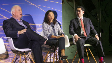 Jack Cowin, executive chairman and managing director, Competitive Foods Australia, Joanna Lau, founder and CEO of Lau Technologies and Roger Park, EY Americas Innovation Leader speak at the EY World Entrepreneur of the Year in Monaco.