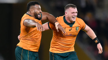 Taniela Tupou and Angus Bell solved the Wallabies' scrum woes in the second half.