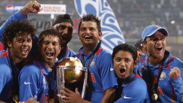India celebrate their 2011 World Cup win against Sri Lanka in Mumbai.