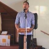 Folau speaks at church on Sunday.