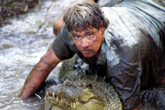 Steve Irwin tackles a 12-footer in The Crocodile Hunter: Collision Course.