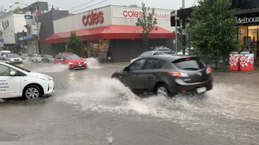 Flash flooding on Glenferrie Road in Hawthorn.