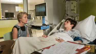 Emma Thompson as Judge Maye and Fionn Whitehead as Adam, who has been diagnosed with leukemia, in The Children Act.