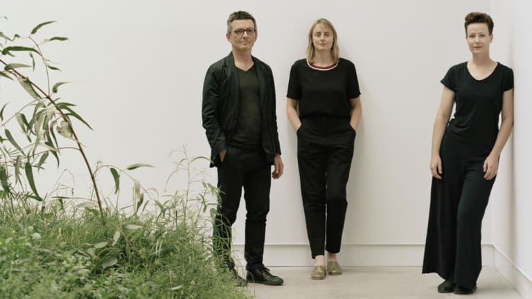 Left and right, architects Mauro Baracco and Louise Wright of Baracco+Wright Architects; centre, artist Linda Tegg, in Venice.