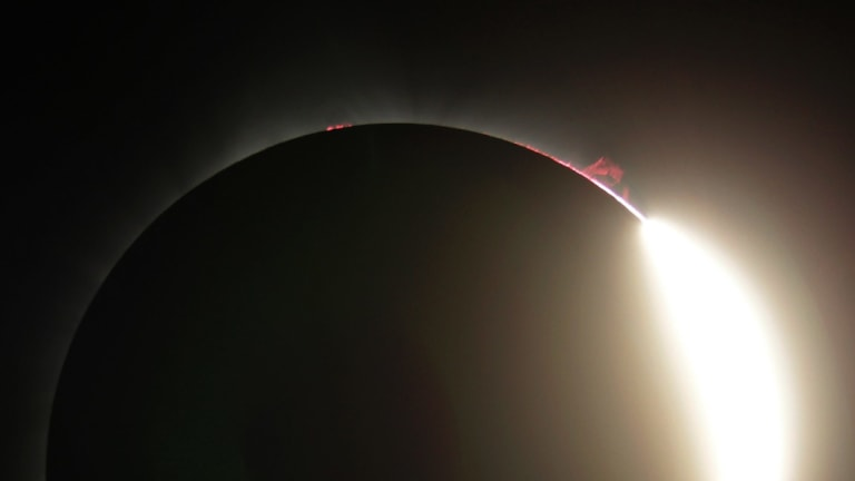 This photo shows the solar eruption as the sun emerges from a total eclipse by the moon.