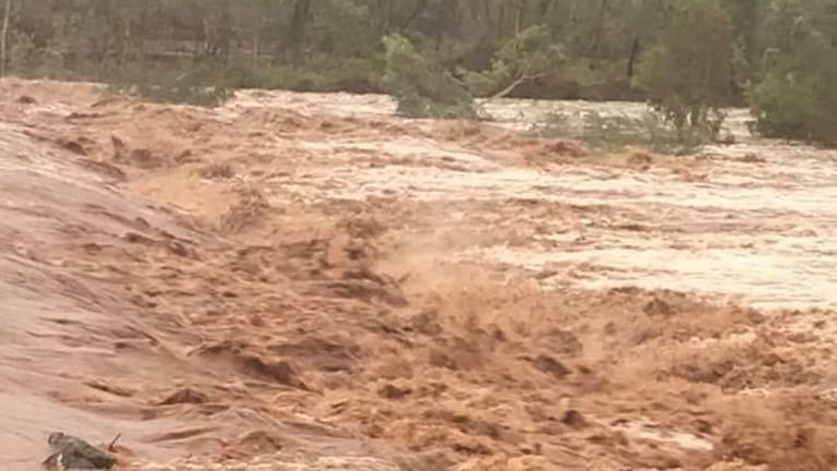 The raging Cloncurry River following the 24-hour torrential downpour.