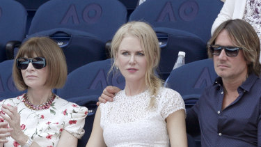 "Anna Wintour, pictured with Nicole Kidman and Keith Urban at the Australian Open, will headline a $550 a head ""intimate discussion"" at the NGV."