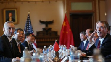 US Trade Representative Robert Lighthizer, right, and Chinese Vice Premier Liu He, left, begin US-China Trade Talks in Washington on Wednesday.
