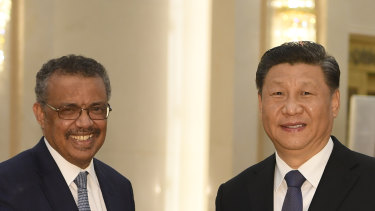 President Xi Jinping with WHO director-general Tedros Adhanom Ghebreyesus in Beijing on January 28.
