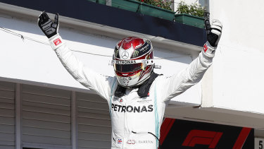 Lewis Hamilton after winning the Hungarian Formula One Grand Prix at the Hungaroring racetrack on Sunday.