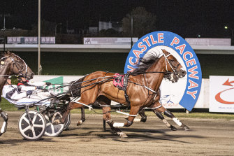 Majordan holds off a fast-finishing Hail Christian on the inside in the Newcastle Mile.