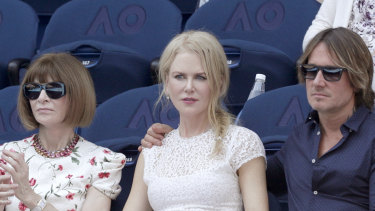 """Anna Wintour, pictured with Nicole Kidman and Keith Urban at the Australian Open, will headline a $550 a head """"intimate discussion"""" at the NGV."""