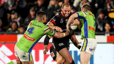 Hobbled: Simon Mannering finished his 300th NRL game on the sideline.