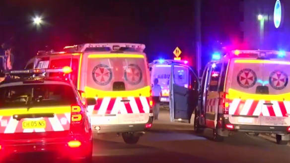 Emergency vehicles at the scene of the stabbings on Saturday night.