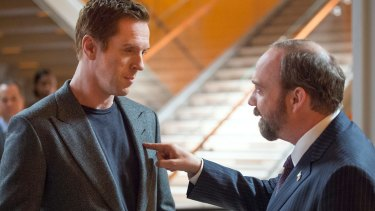 "Damian Lewis as Bobby ""Axe"" Axelrod and Paul Giamatti as Chuck Rhoades in Billions, which screens on the Stan service."