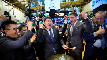 Forrest Li at Sea Ltd's IPO at the NYSE in New York in 2017.  After a rocky first year of trading, Sea's stock has gone on to trounce everything in its class.