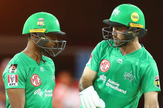 Glenn Maxwell, right, and Nicholas Pooran, left, in action on Saturday.