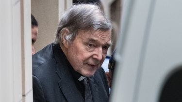 Pell leaving court on Wednesday morning.
