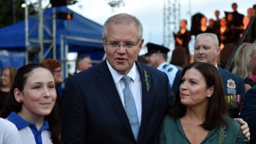 Prime Minister Scott Morrison and wife Jenny attend Anzac Day Dawn services at Anzac Memorial Park in Townsville.