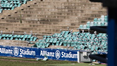 Chairs are being removed at Allianz Stadium as part of so-called soft demolition works.