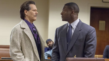 Kevin Bacon as FBI agent Jackie Rohr and Aldis Hodge as lawyer Decourcy Ward square off in City on a Hill.